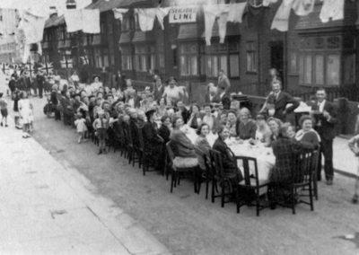 Sandringham Road victory celebration, Redcar England, 1945